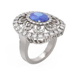 6.51 ctw Tanzanite & Diamond Ring 18K White Gold