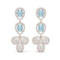 9.55 ctw Sky Topaz & VS Diamond Earrings 18K Rose Gold