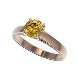 1.29 ctw Certified Intense Yellow Diamond Solitaire Ring 10K Rose Gold