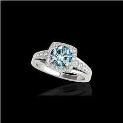 2 ctw SI Certified Blue Diamond Solitaire Halo Ring 10K White Gold