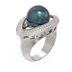 1 ctw Diamond and Pearl Ring 18K White Gold