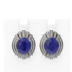 15.58 ctw Sapphire & Diamond Earrings 18K White Gold