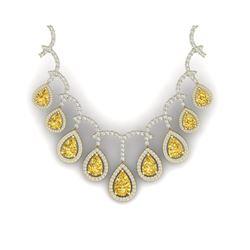 29.42 ctw Canary Citrine & VS Diamond Necklace 18K Yellow Gold