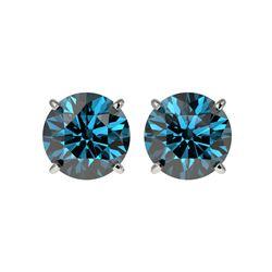 2.50 ctw Certified Intense Blue Diamond Stud Earrings 10K White Gold