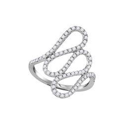 18kt White Gold Round Diamond Openwork Single Row Cascading Ring 1/2 Cttw