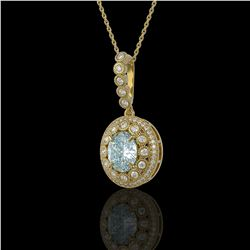 3.82 ctw Aquamarine & Diamond Victorian Necklace 14K Yellow Gold