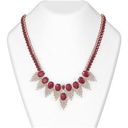88.87 ctw Ruby & Diamond Necklace 18K Rose Gold