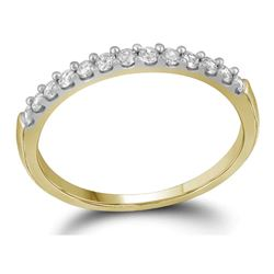 14kt Yellow Gold Round Diamond Slender Wedding Anniversary Band 1/4 Cttw