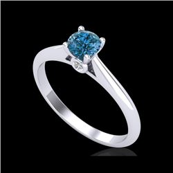 0.4 ctw Intense Blue Diamond Engagement Art Deco Ring 18K White Gold