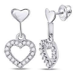 10kt White Gold Round Diamond Small Heart Dangle Screwback Earrings 1/5 Cttw