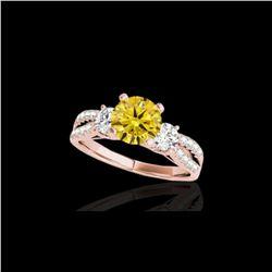 1.75 ctw SI/I Fancy Intense Yellow Diamond 3 Stone Ring 10K Rose Gold