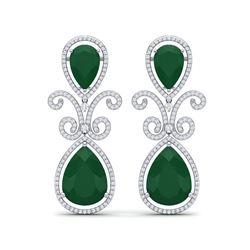 31.6 ctw Emerald & VS Diamond Earrings 18K White Gold