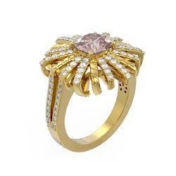 2.83 ctw Morganite & Diamond Ring 18K Yellow Gold