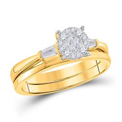 14kt Yellow Gold Princess Diamond Bridal Wedding Engagement Ring Band Set 1/4 Cttw