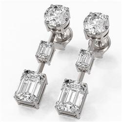3.5 ctw Emerald Cut Diamond Designer Earrings 18K White Gold