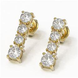 3.78 ctw Cushion Diamond Earrings 18K Yellow Gold