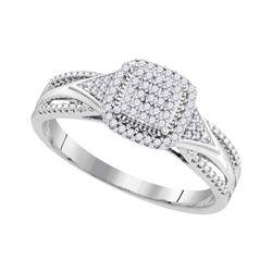 10kt White Gold Round Diamond Square Cluster Bridal Wedding Engagement Ring 1/6 Cttw