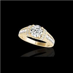 1.75 ctw Certified Diamond Solitaire Antique Ring 10K Yellow Gold