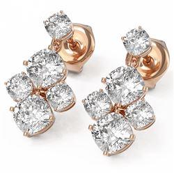 3.7 ctw Cushion Cut Diamond Designer Earrings 18K Rose Gold