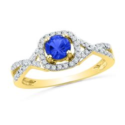 10kt Yellow Gold Round Lab-Created Blue Sapphire Solitaire Diamond Ring 1/5 Cttw