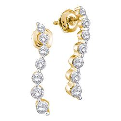 14kt Yellow Gold Round Diamond Graduated Journey Screwback Earrings 1/2 Cttw