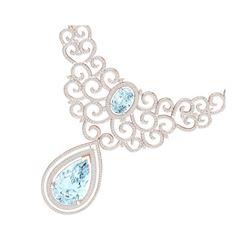 89.32 ctw Sky Topaz & VS Diamond Necklace 18K Rose Gold