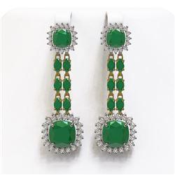 19.88 ctw Emerald & Diamond Earrings 14K Yellow Gold