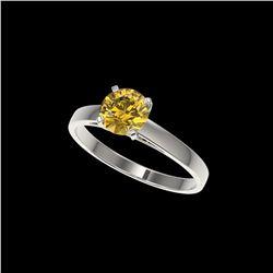 1 ctw Certified Intense Yellow Diamond Engagement Ring 10K White Gold