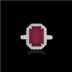 5.33 ctw Ruby And Micro Pave VS/SI Diamond Ring 18K White Gold