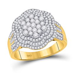 10kt Yellow Gold Mens Round Diamond Large Cluster Band Ring 1-1/2 Cttw