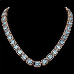 80.98 ctw Aquamarine & Diamond Micro Pave Halo Necklace 10K Rose Gold