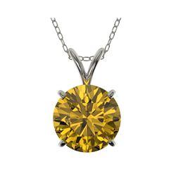 2.03 ctw Certified Intense Yellow Diamond Necklace 10K White Gold
