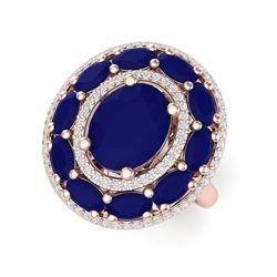 8.05 ctw Designer Sapphire & VS Diamond Ring 18K Rose Gold