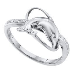 10kt White Gold Round Diamond Dolphin Fish Animal Ring 1/20 Cttw