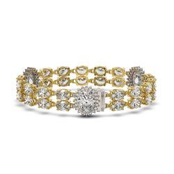 14.86 ctw Rare Oval Diamond Bracelet 18K Yellow Gold
