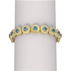 16.91 ctw Intense Blue Diamond Bracelet 18K Yellow Gold
