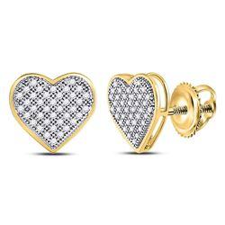 10kt Yellow Gold Round Diamond Heart Cluster Screwback Earrings 1/4 Cttw