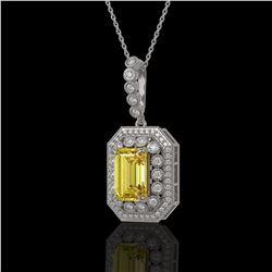 5.82 ctw Canary Citrine & Diamond Victorian Necklace 14K White Gold