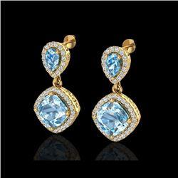 7 ctw Sky Blue Topaz & Micro VS/SI Diamond Earrings 10K Yellow Gold