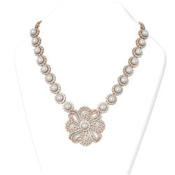 15 ctw Diamond and Pearl Necklace 18K Rose Gold