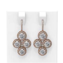 4.42 ctw Diamond Earrings 18K Rose Gold