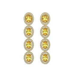 5.4 ctw Fancy Citrine & Diamond Micro Pave Halo Earrings 10K Yellow Gold