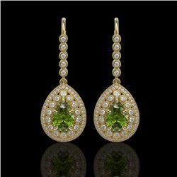 9.95 ctw Tourmaline & Diamond Victorian Earrings 14K Yellow Gold