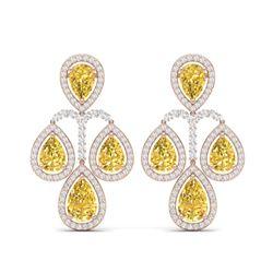 27.85 ctw Canary Citrine & VS Diamond Earrings 18K Rose Gold