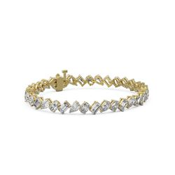 10 ctw Mix Cut Diamonds Designer Bracelet 18K Yellow Gold