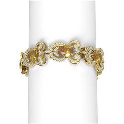 26.75 ctw Canary Citrine & Diamond Bracelet 18K Yellow Gold