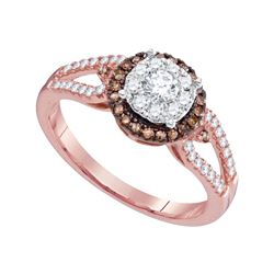 14kt Rose Gold Round Diamond Solitaire Bridal Wedding Engagement Ring 1/2 Cttw