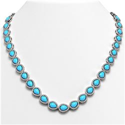 29.73 ctw Turquoise & Diamond Micro Pave Halo Necklace 10K White Gold