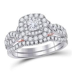 14kt Two-tone Gold Princess Diamond Bridal Wedding Engagement Ring Band Set 1-1/4 Cttw
