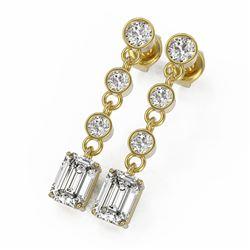 3 ctw Emerald Cut Diamond Earrings 18K Yellow Gold